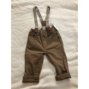 NWT OshKosh dark khaki pants w/ suspenders